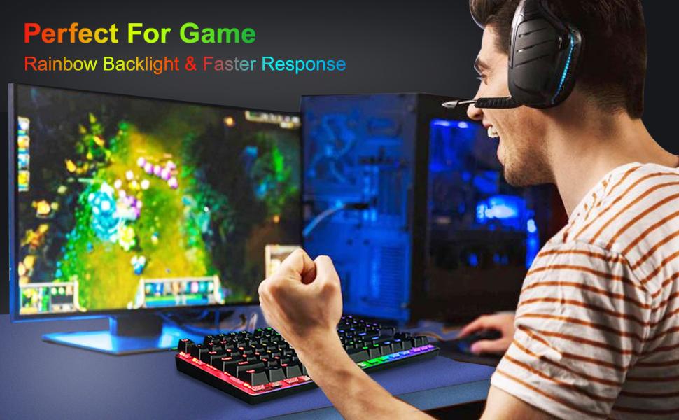 Rainbow Gaming Keyboard,Mechanical PC Gaming Keyboards,RGB LED Rainbow Backlit Wired Keyboard,