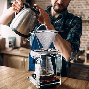 black stainless coffee filter pour over
