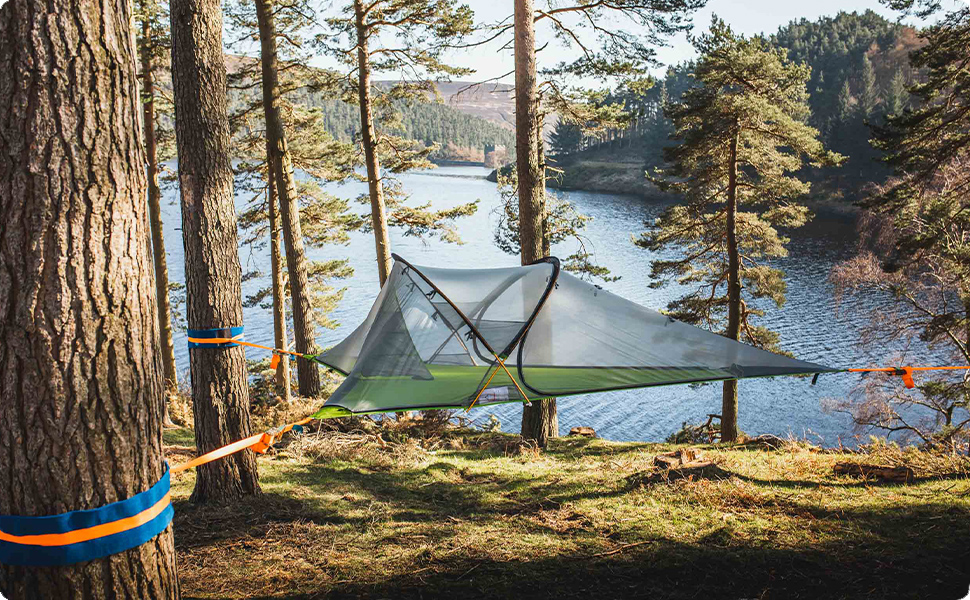Amazon.com : Tentsile Connect Tree Tent (2020 Model) – 2 Person Portable  Tree House Camping and Backpacking Tent – 4 Season, Removable rain Fly,  Tear-Resistant mesh – Forest Green : Sports & Outdoors