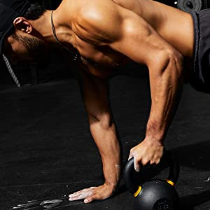 on the ground with kettlebell