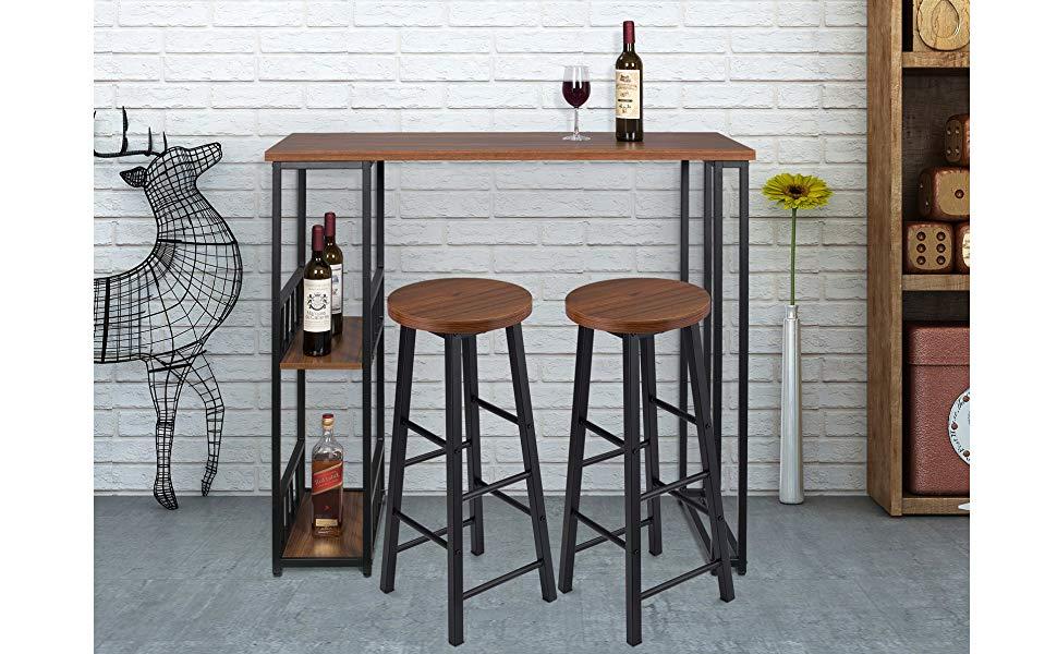 WOLTU 1 Mesa de Bar + 2 Taburete de Bar Mesa de Bistro ...