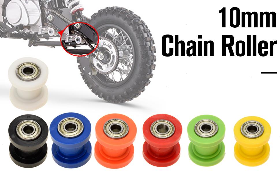 HIAORS Chain Roller 10mm ID Tensioner Guide Wheel for 50cc 110cc 125cc Chinese Dirtbike Pit Bike Mini Bike Dirt Bug Motocycle Blue