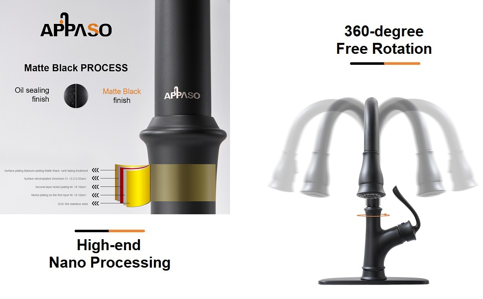 APPASO Matte Black Pull Down Kitchen Faucet with Magnetic Docking Sprayer