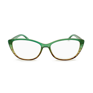 cat eye reading glasses for women green to brown ombre color