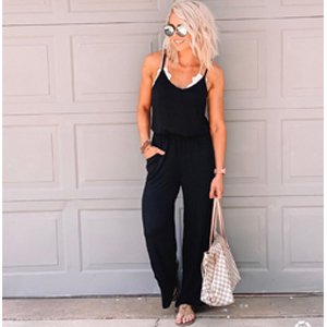 Women Sleeveless Dot Jumpsuit Romper Casual Loose Wide Leg Pants Outfits Party