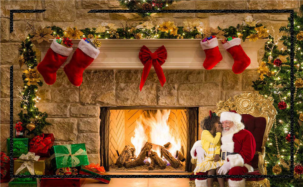Christmas Backdrop Vinyl 10x7ft Indoor Decorated Xmas Tree Gifts Burning Fireplace Stockings Stars Carpet Rustic Wooden Wall Floor Background Child Kids Adult Shoot Xmas Party Banner