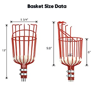 5 8 13ft fruit picker pole with basket with telescoping pole twist-on lightweight stainless steel