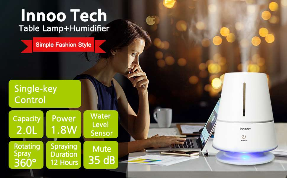 for Off Mist Humidifier2L Bedroom Ultrasonic Tech Quiet Shut Humidifier Lamp Design Cool with Innoo Table HomeWhisper Baby OperationAuto nymNv8w0O