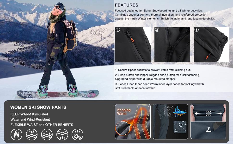 Hiking Pants Women ski Waterproof Snow Winter Fleece Travel Warm Outdoor Insulated rain Golf Pants
