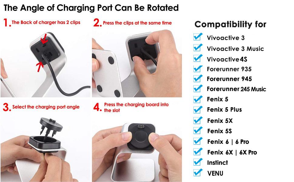 Cavn Charging Station Compatible With Garmin Vivoactive Elektronik