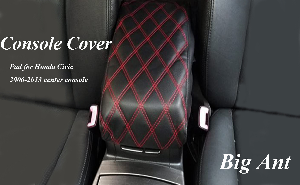 Black/&Red Center Console Armrest Cover with PU Leather for Honda Civic 2006-2013 by Big Ant-Protects from Dirt and Damage Renews Old Damaged Consoles