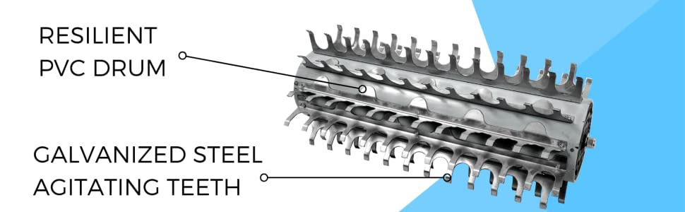 jenlis muck razer product features steel agitating teeth and pvc drum