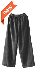Women's Cropped Corduroy Pants Elastic Waist Retro Trouser with Pockets