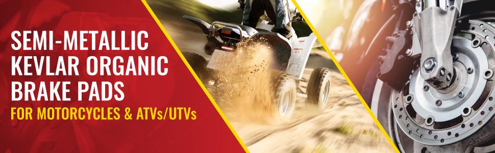 Sixity Semi-organic Kevlar Organic Brake Pads for Motorcycles, ATVs, and UTVs