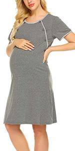 Ekouaer Nursing Nightgown Nightdress Hospital Gown