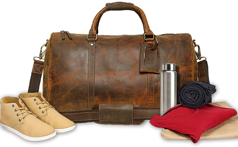 Oversized Genuine Leather Travel Tote Duffel Shoulder Bags Weekender Overnight Carry on Handbag