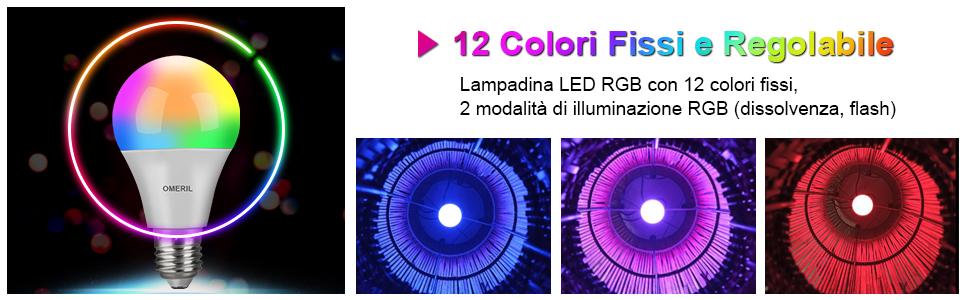 10W Lampadine E27 Cambia Colore RGBW Lampadine Multicolore Dimmerabile con 12 Colore