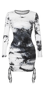 black and white tie dye dress side ruched mini dress bodycon dress bandage dress long sleeve dress