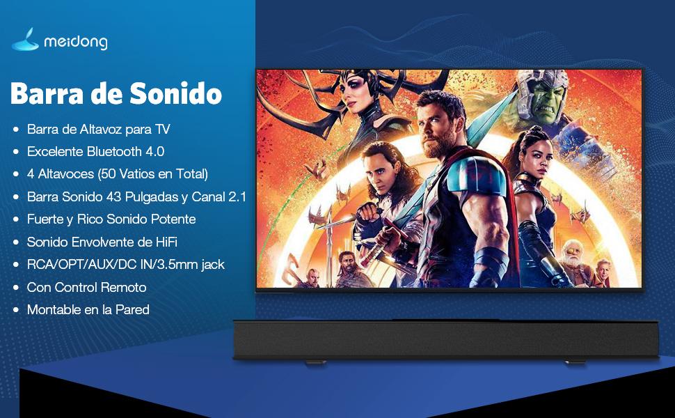 Meidong Barra de Sonido para TV, Barras de Sonido con Control Remoto Audio HiFi 4 Altavoces 50 Vatios 43 Pulgadas Altavoz para TV Montable en la Pared: Amazon.es: Electrónica