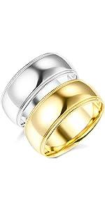 8mm Milgrain Comfort Fit Wedding Bands