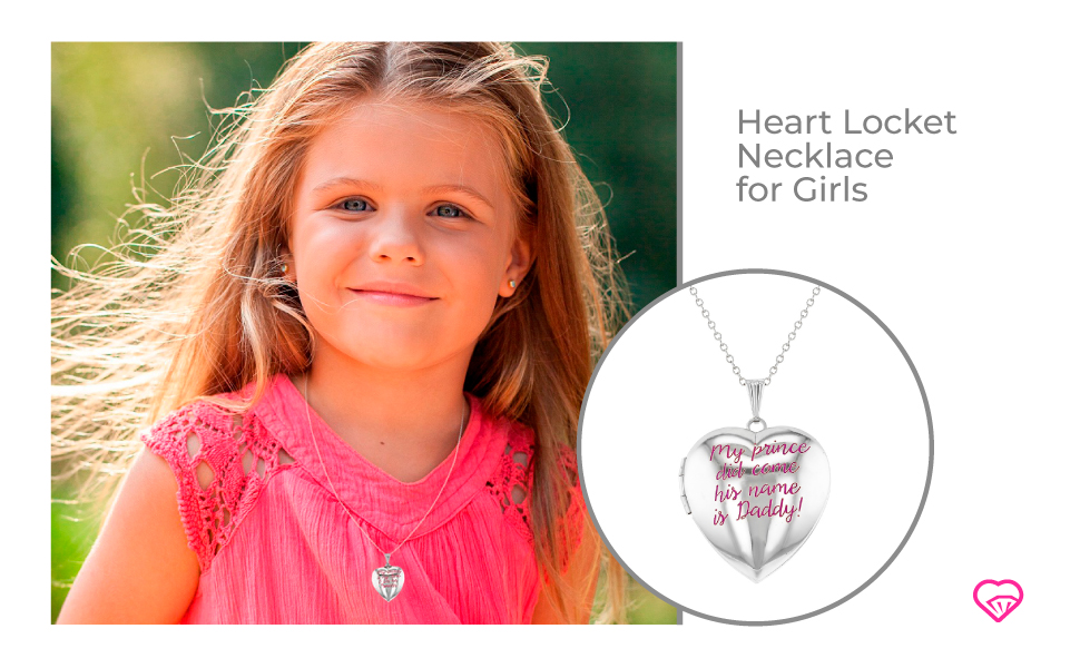 In Season Jewelry My Prince Did Come His Name is Daddy Pink Photo Heart Locket Necklace for Girls 16
