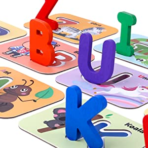 flash cards wooden blocks