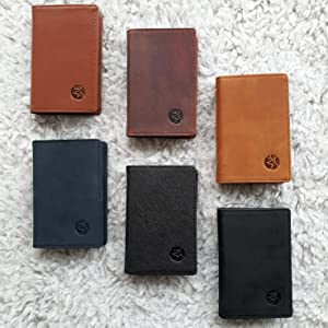 black brown crazy horse saffiano genuine natural leather wallet automatic aluminum card holder