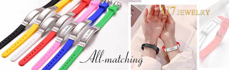 SILICONE BAND WITH STAINLESS STEEL ID BAR