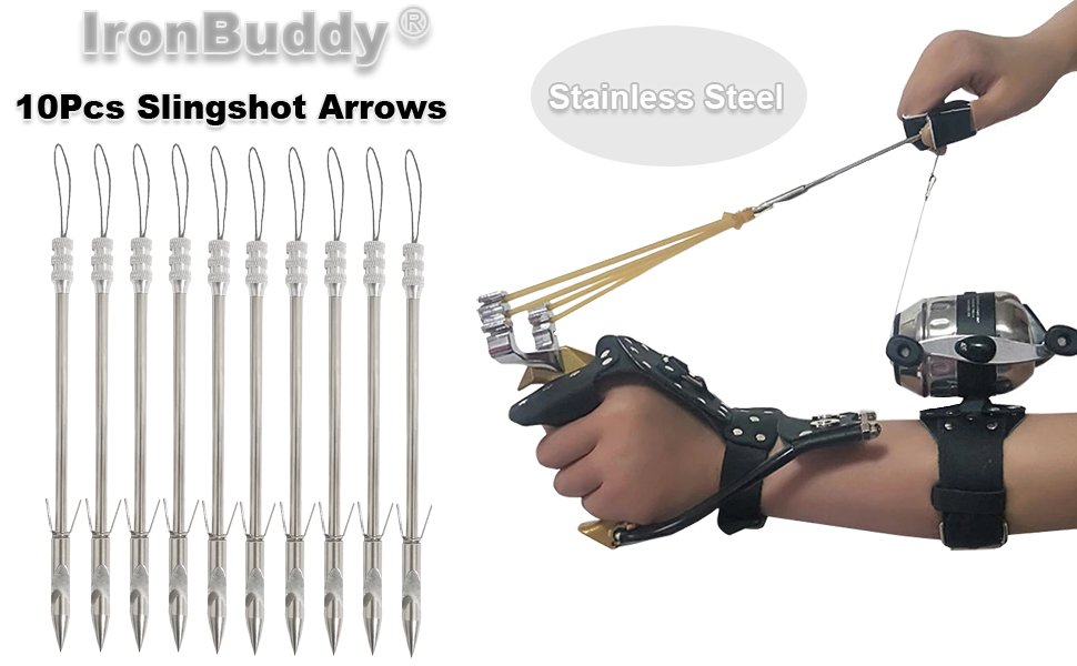 Details about  /Stainless Steel Fishing Slingshot Broadheads Arrowheads Bow Tackle Accessory New