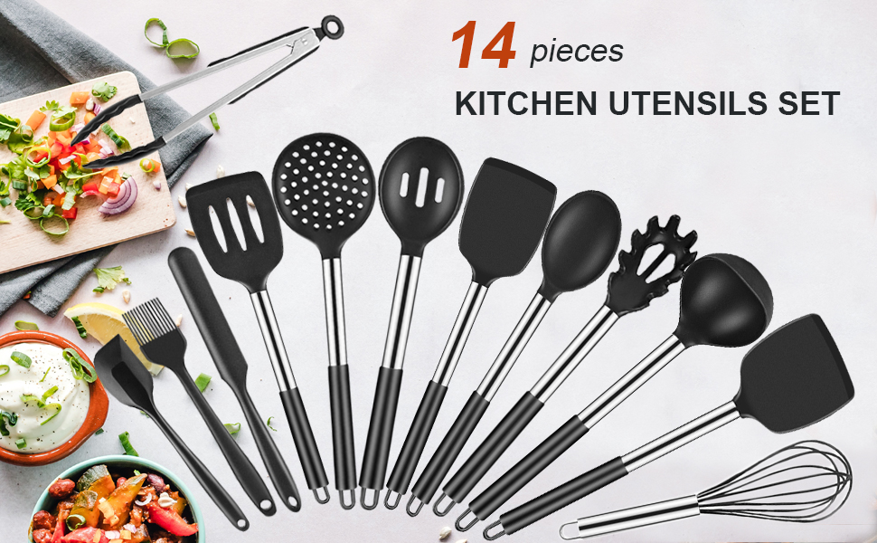 kitchen utensils set  Allyooly Kitchen Utensils Set – 14 pcs Silicone Cooking Utensils Set Premium Quality Non-stick Heat Resistant Kitchen Utensils,Cookware with Stainless Steel Handle,Black(BPA Free) ebeecde8 a1a7 4cc6 940f 85fa4cfc4e0c