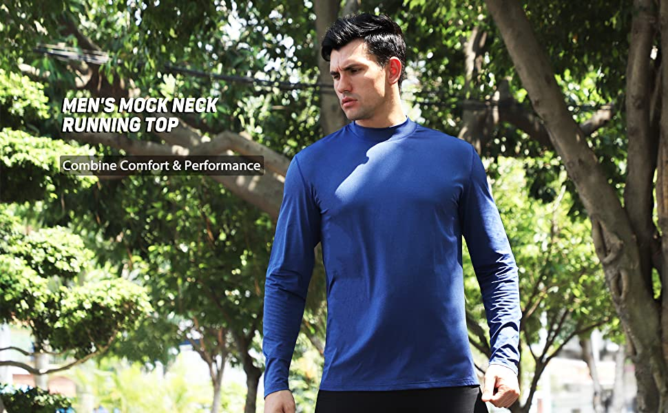 mens mock neck long sleeve t-shirt running training gym top workout t-shirt muscle sports tee