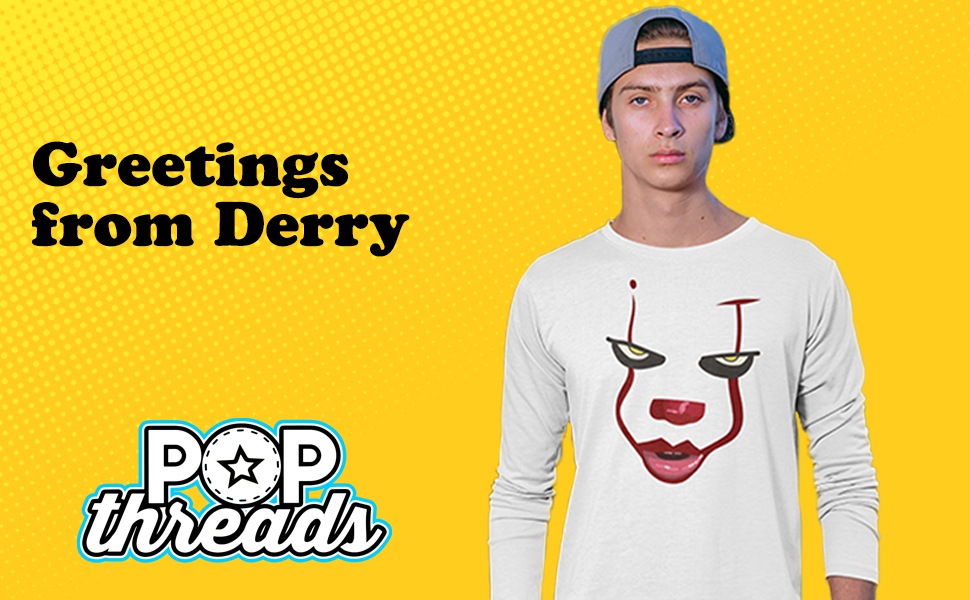 Pop Threads You'll Float Too Loser Lover Horror Scary Clown Full Long Sleeve Tee T-Shirt