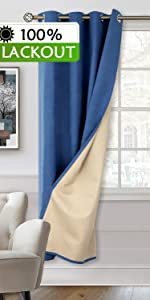 100% blackout curtains bedroom living room thermal insulated layered lined light block total max
