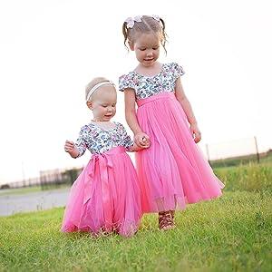Flofallzique Floral Tulle Girls Party Dress Vintage Casual Spring Valentine Dress for Toddler