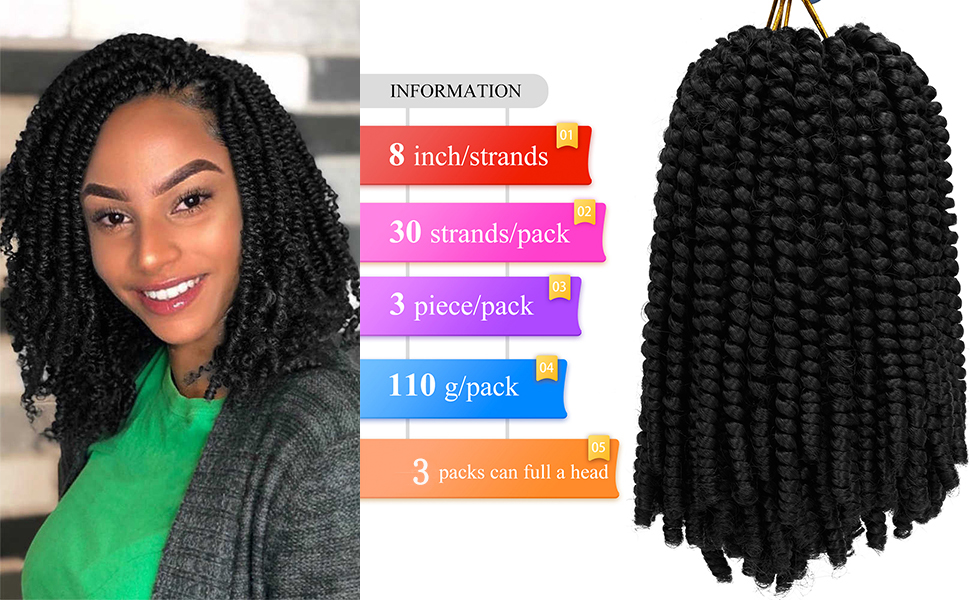 3 Pack Spring Twist Ombre Colors Crochet Braids 8 inch Synthetic Braiding Hair Extensions