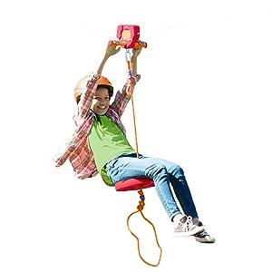Zipline Kit, 80 foot zip line, red, kids, easy, safe, backyard, outdoor, active, child, children