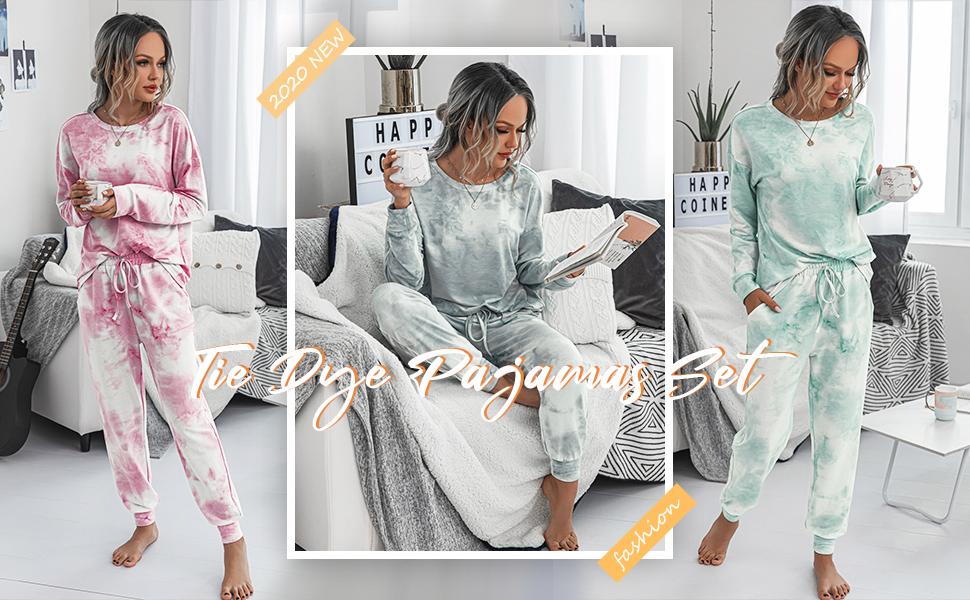 Women/'s Tie Dye Printed Pajamas Set Long Sleeve Tops Shorts Loungewear Tracksuit