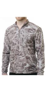 fishing shirt zippered rashguard longsleeves water camo sun guard camouflage boating hunting
