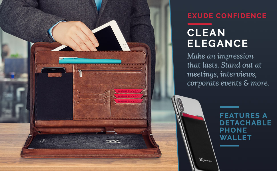 portfolio padfolio leather vegan folder business executive women men pad holder