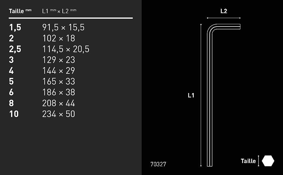 Cl/é coud/ée 2/mm 1,5/mm Jeu de cl/és Allen INBUS/® 70327 rouge avec t/ête sph/érique m/étrique 9 pi/èces 1,5-10/mm 4/m Made in Germany cl/é Allen 3/mm 2,5/mm