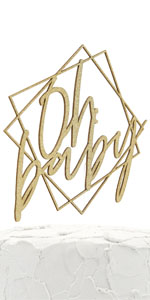 gold oh baby geometric frame cake topper