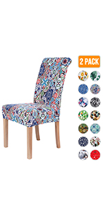 Patchwork Moroccan Printed Dining Chair Covers
