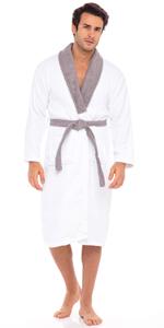 Men's Shawl Collar Bathrobe Lightweight Hooded Terry Cotton Bathrobe Cloth Robe