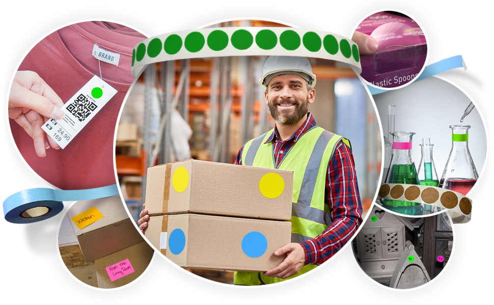 Colored dots, rectangles and tape for Schools, retail, food service, legal, inventory and medical