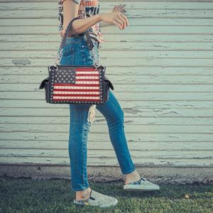 American Pride Flag Satchel Handbags Patriotic Tote Bags Handgun Concealed Carry Purses for Women
