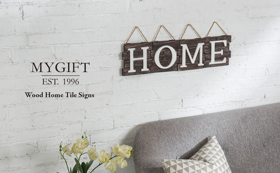 Rustic Wood Home Tile Signs with Hanging Rope