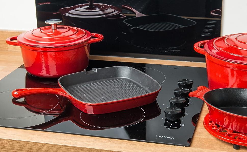 Cacerola redonda – Cocina de horno holandés de hierro fundido para inducción y gas seguro – con tapa – 10 años de garantía (cazuela de 5,2 L, rojo)