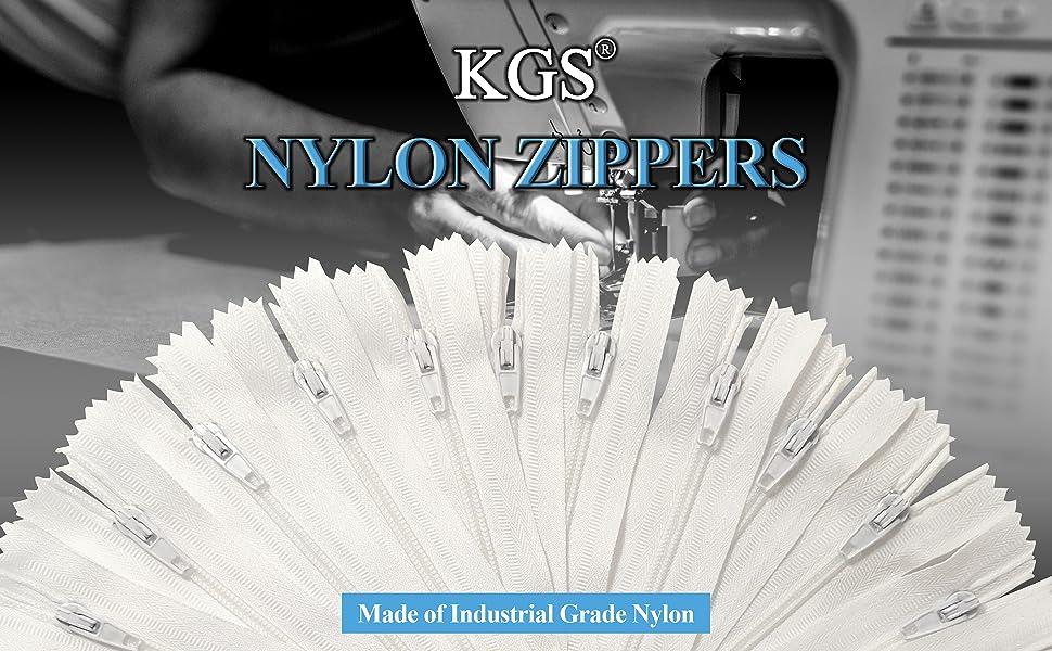 KGS white nylon zippers