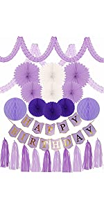 PURPLE BIRTHDAY DECORATION SET FOR GIRL