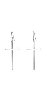 Women's 925 Sterling Silver cross earrings